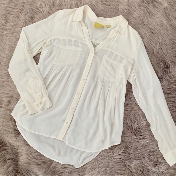 MAEVE | Anthropologie White Button Front Blouse